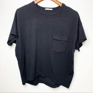 ZARA Trafaluc Black Short Sleeve Slouchy Tee S